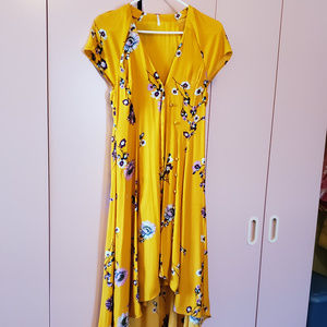 Yellow Floral Free People Dress - Size XS NWOT